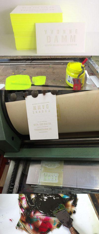Handmade Letterpress Visitenkarten mit Farbschnitt